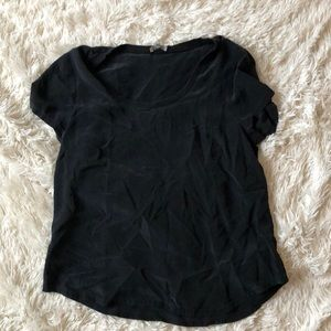 Joie 100% Silk Black Top With Pocket